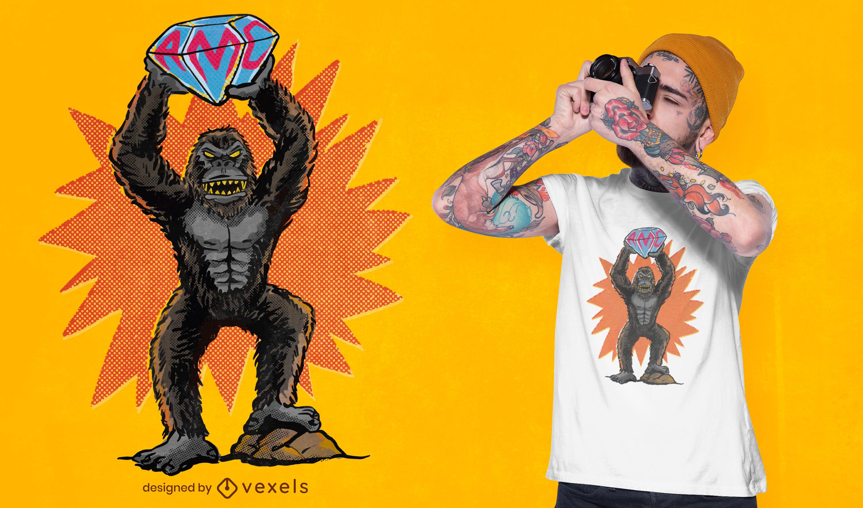 Gorilla with big diamond t-shirt design