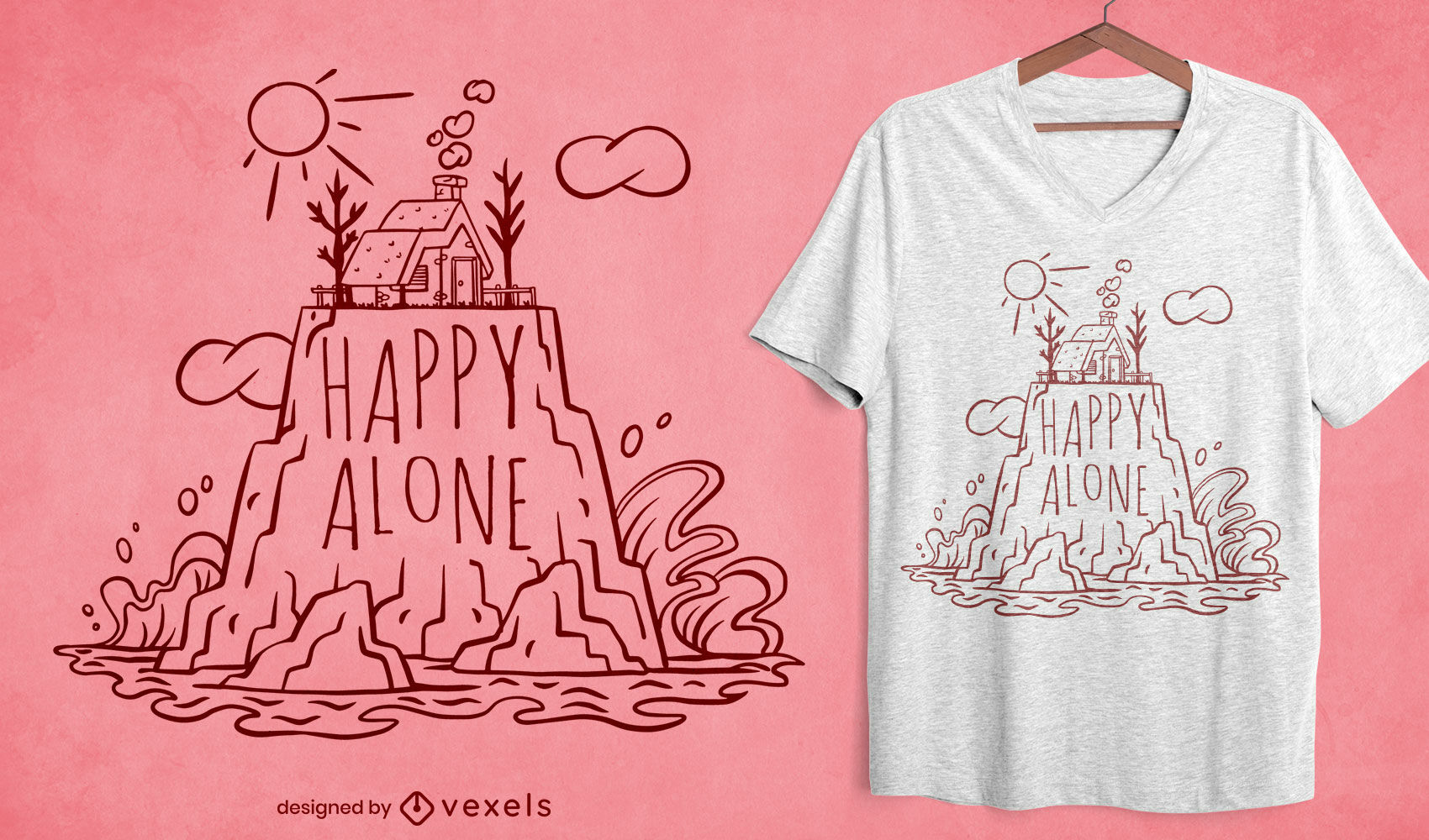 Alone house t-shirt design