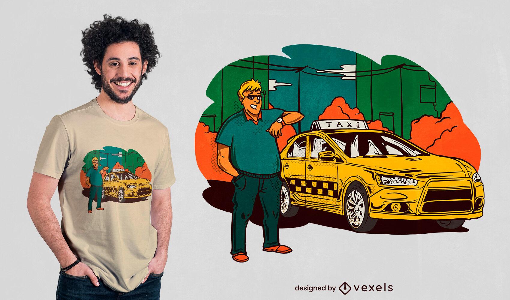 Diseño de camiseta de taxista.
