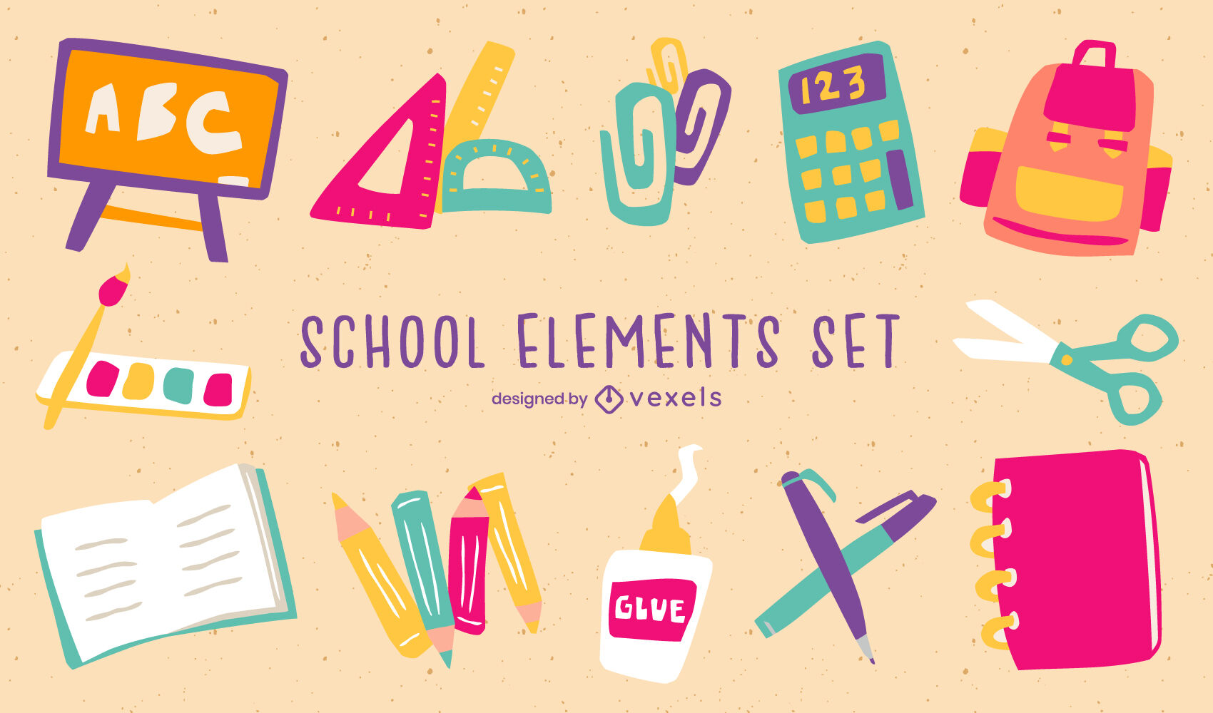 Simple school supplies elements flat