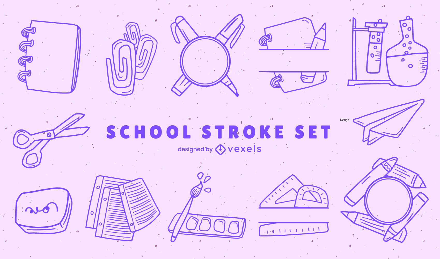 School supplies stroke set