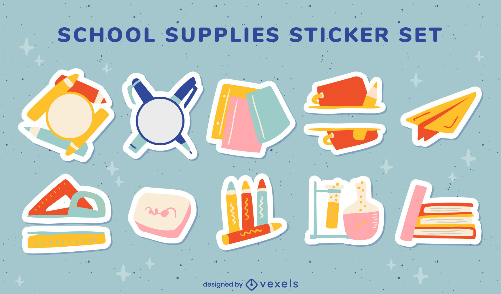 School supplies stickers flat set