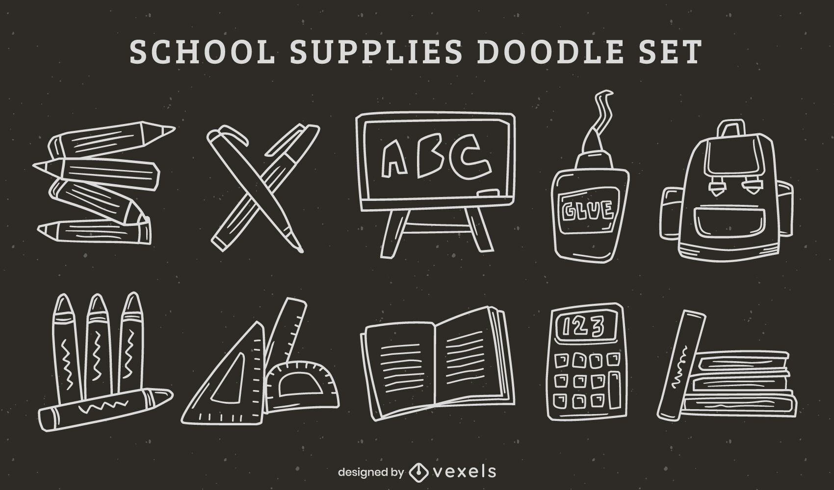 School supplies doodle stroke set
