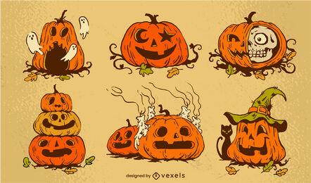 Conjunto vintage de calabaza de miedo de vacaciones de Halloween