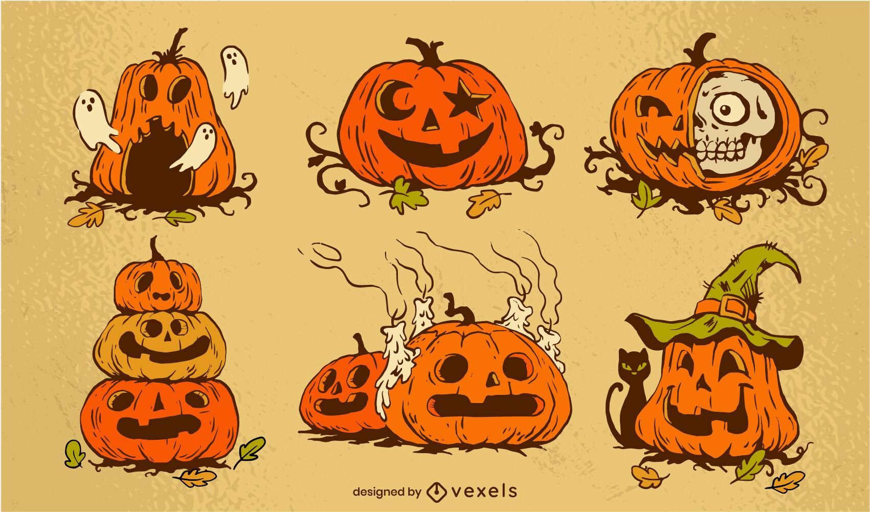 Halloween holiday scary pumpkin vintage set