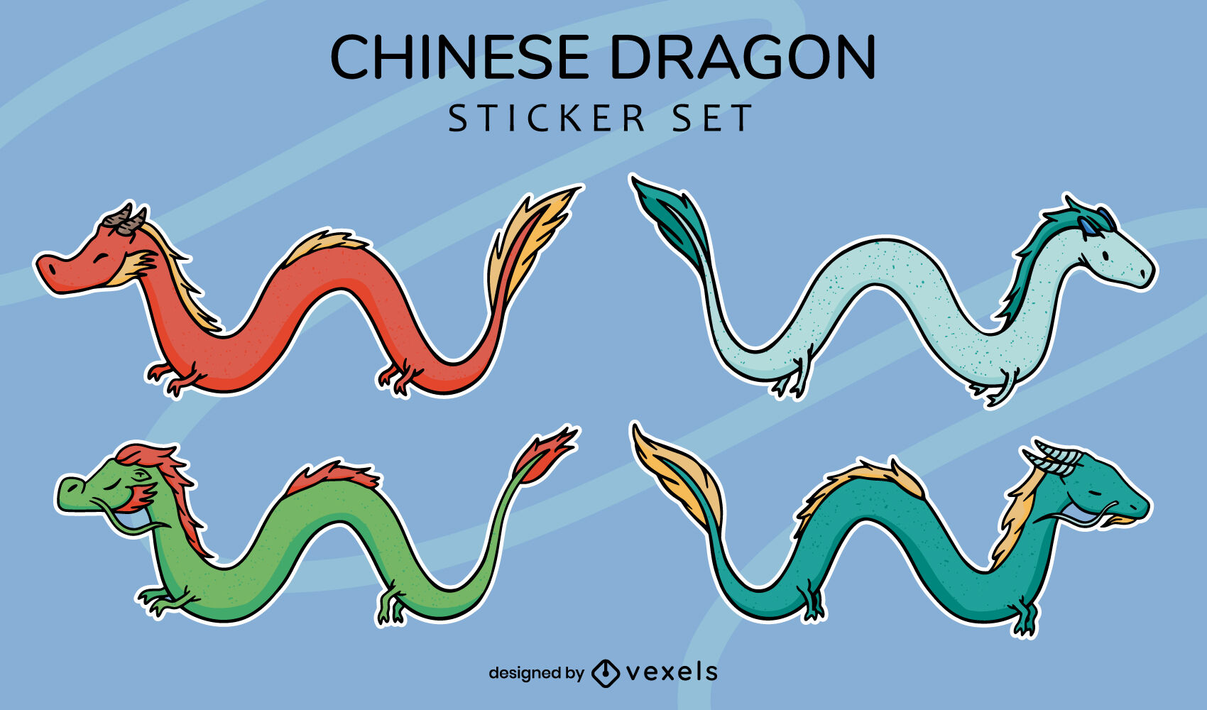 Chinese dragon mythological creature stickers