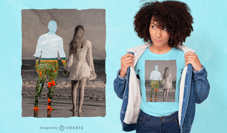 Pareja en la playa recorta collage psd camiseta