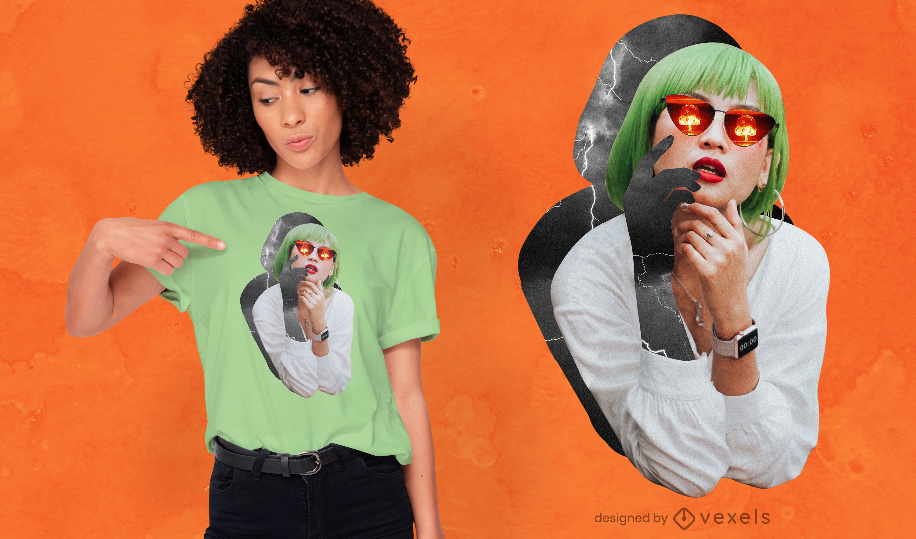 Girl collage cut out bomb storm psd t-shirt design