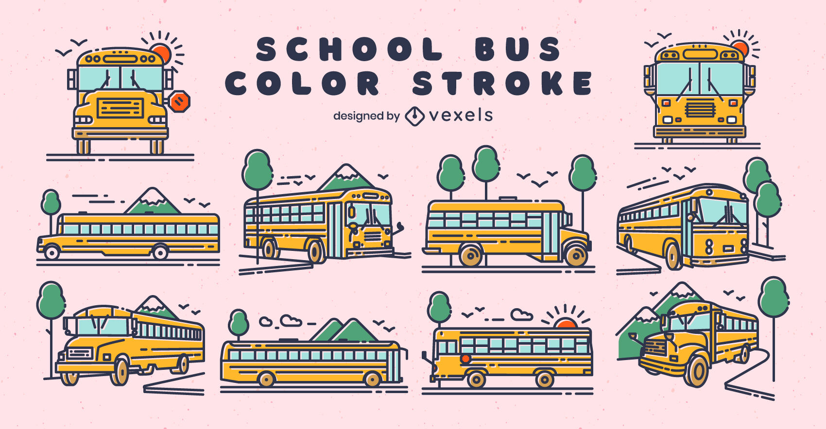 School buses color stroke set