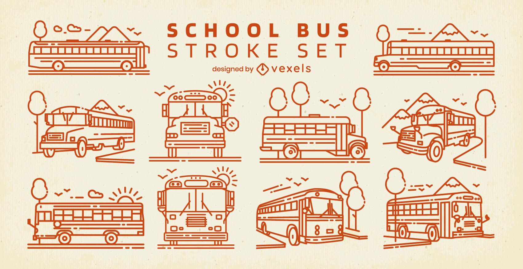 Conjunto de trazos de autobuses escolares