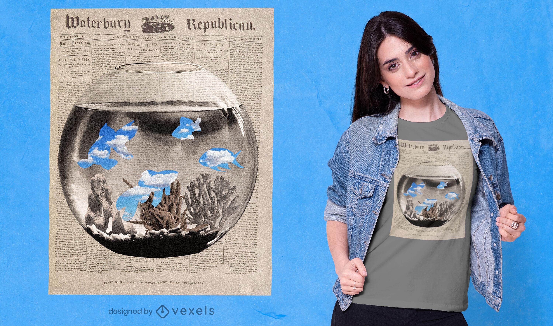 Camiseta con ilustración de periódico de pecera psd