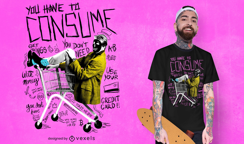 Man in cart consumism psd t-shirt design