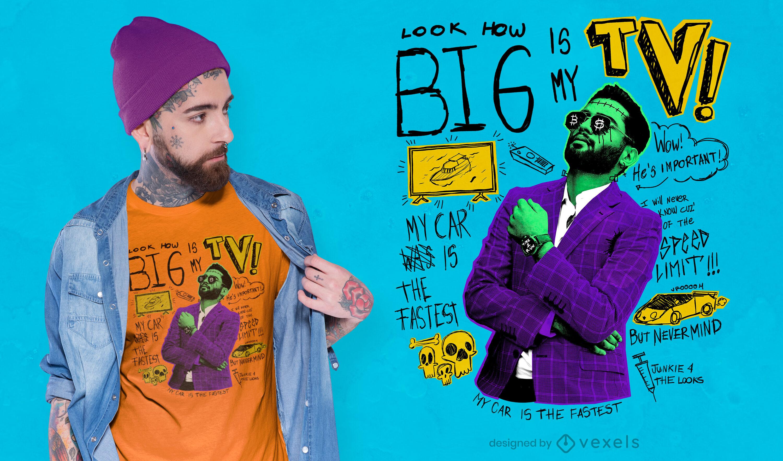 Camiseta de hombre de negocios tv punk psd