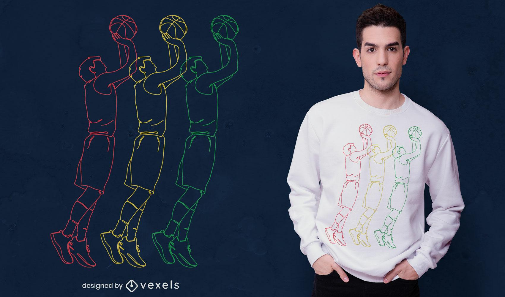 Desenho de t-shirt de arte em linha de jogador de basquete