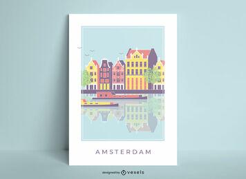 Amsterdam city landscape poster