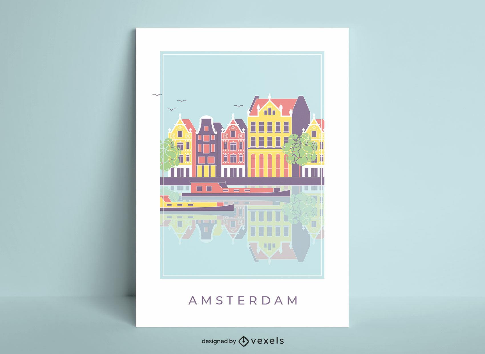 Pôster de paisagem da cidade de Amsterdã