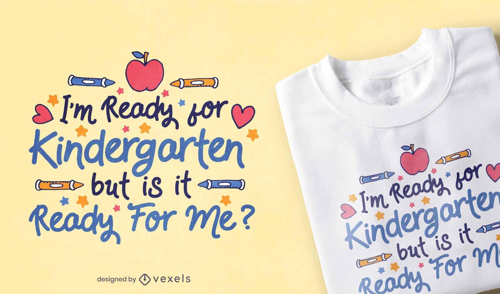 Diseño de camiseta de cita linda de jardín de infancia