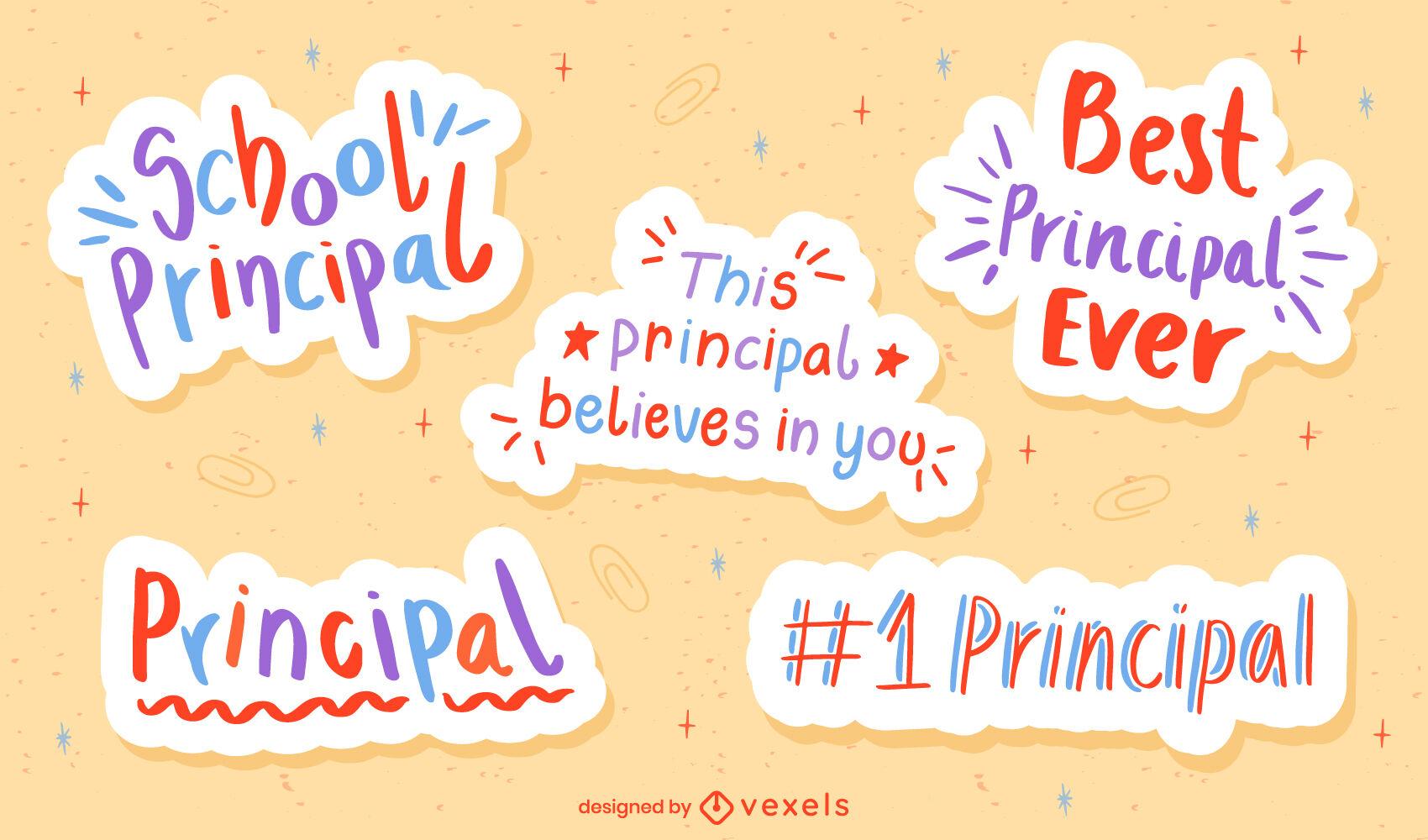 School principal set of flat quote stickers