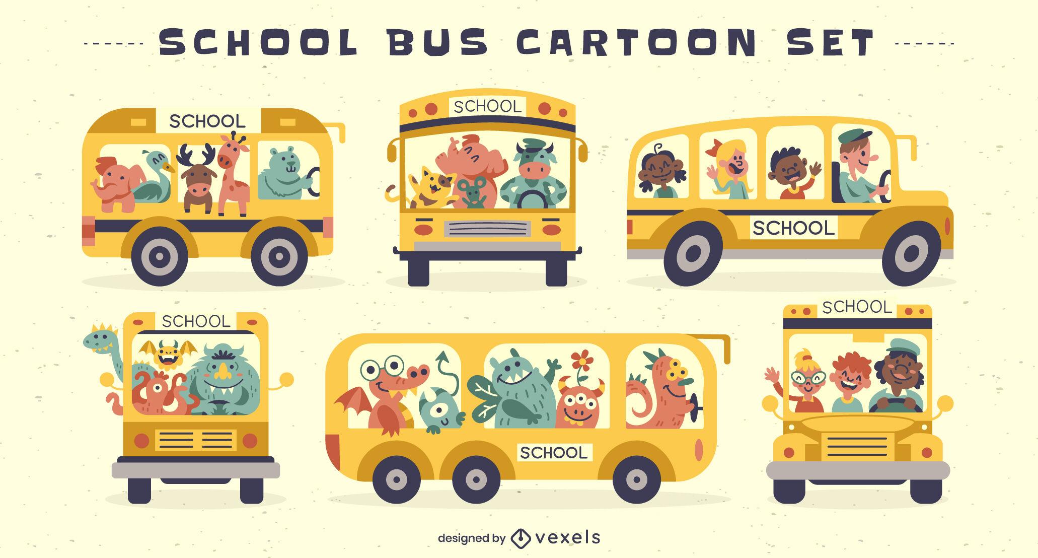 Conjunto de colores de dibujos animados de autobuses escolares