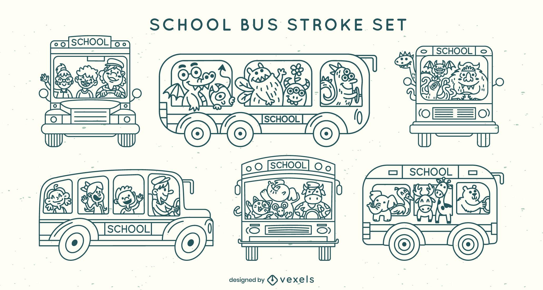 Conjunto de trazos de dibujos animados de autobuses escolares
