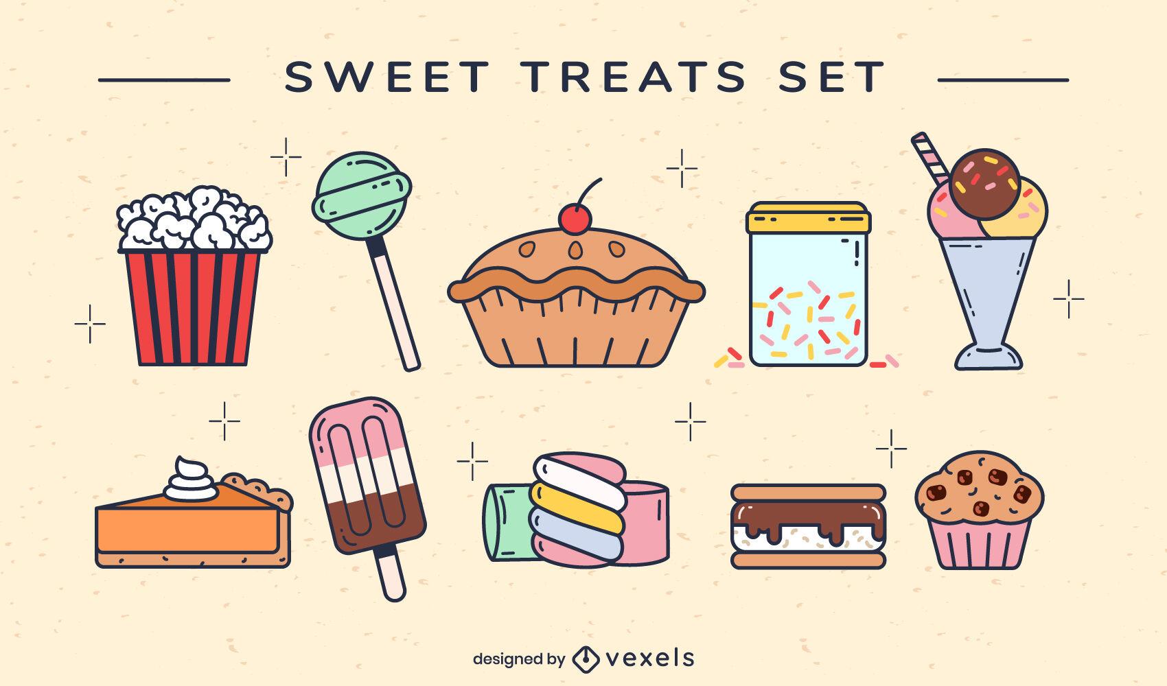Sweet treats set color stroke
