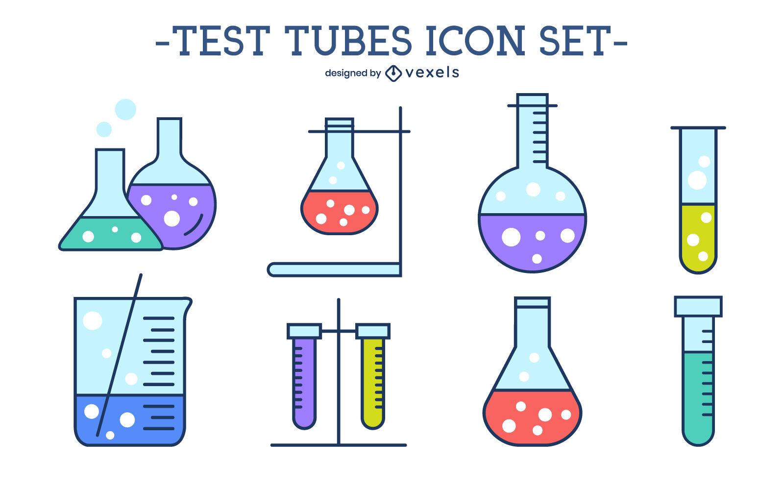 Conjunto de iconos de colores de tubos de ensayo de qu?mica