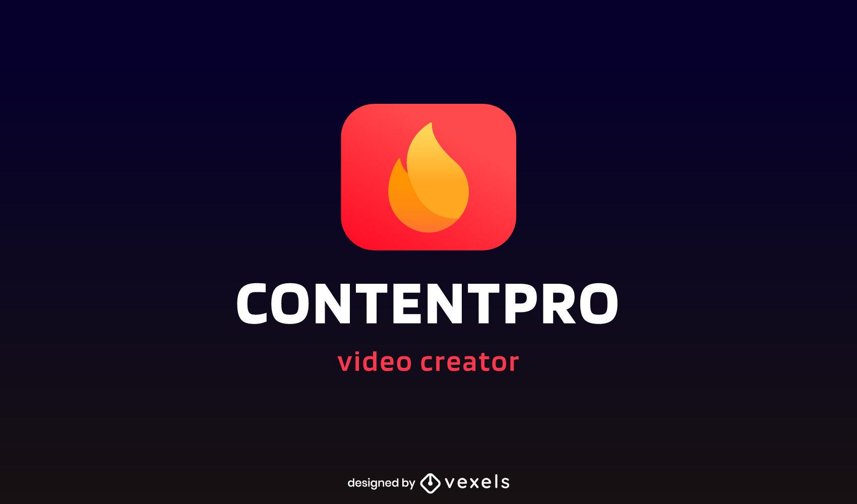Plantilla de logotipo de video de fuego