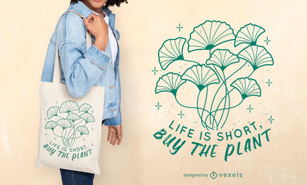 Plants nature stroke tote bag design