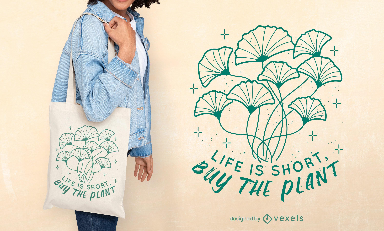 Diseño de bolsa de asas de trazo de naturaleza de plantas