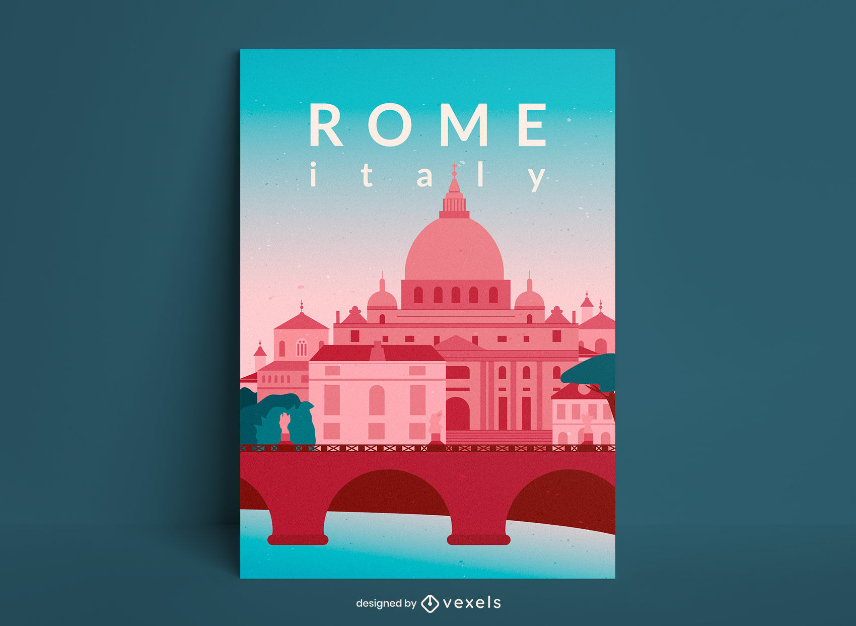 Rome italy buildings travel poster design