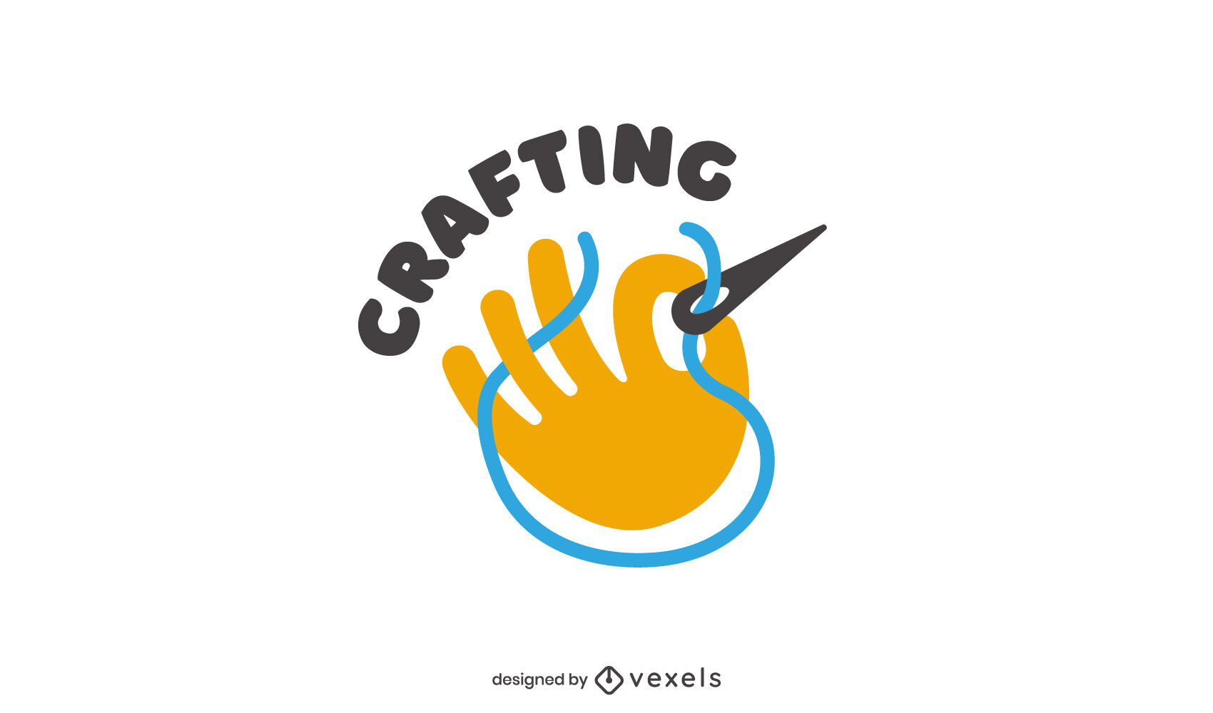 Plantilla de logotipo plano de mano de costura