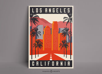 Los Angeles city buildings poster