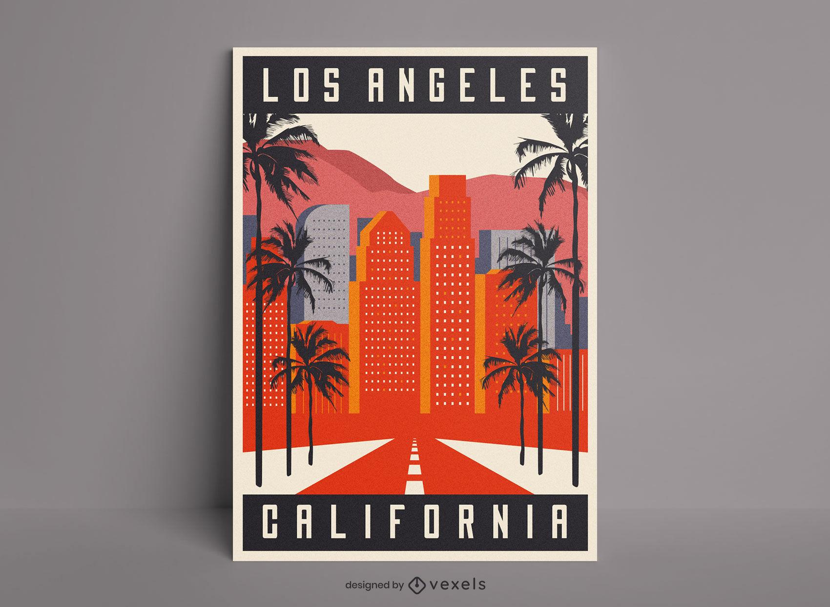 Cartel de edificios de la ciudad de Los Ángeles