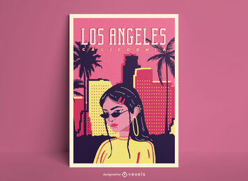 Los Angeles girl poster template