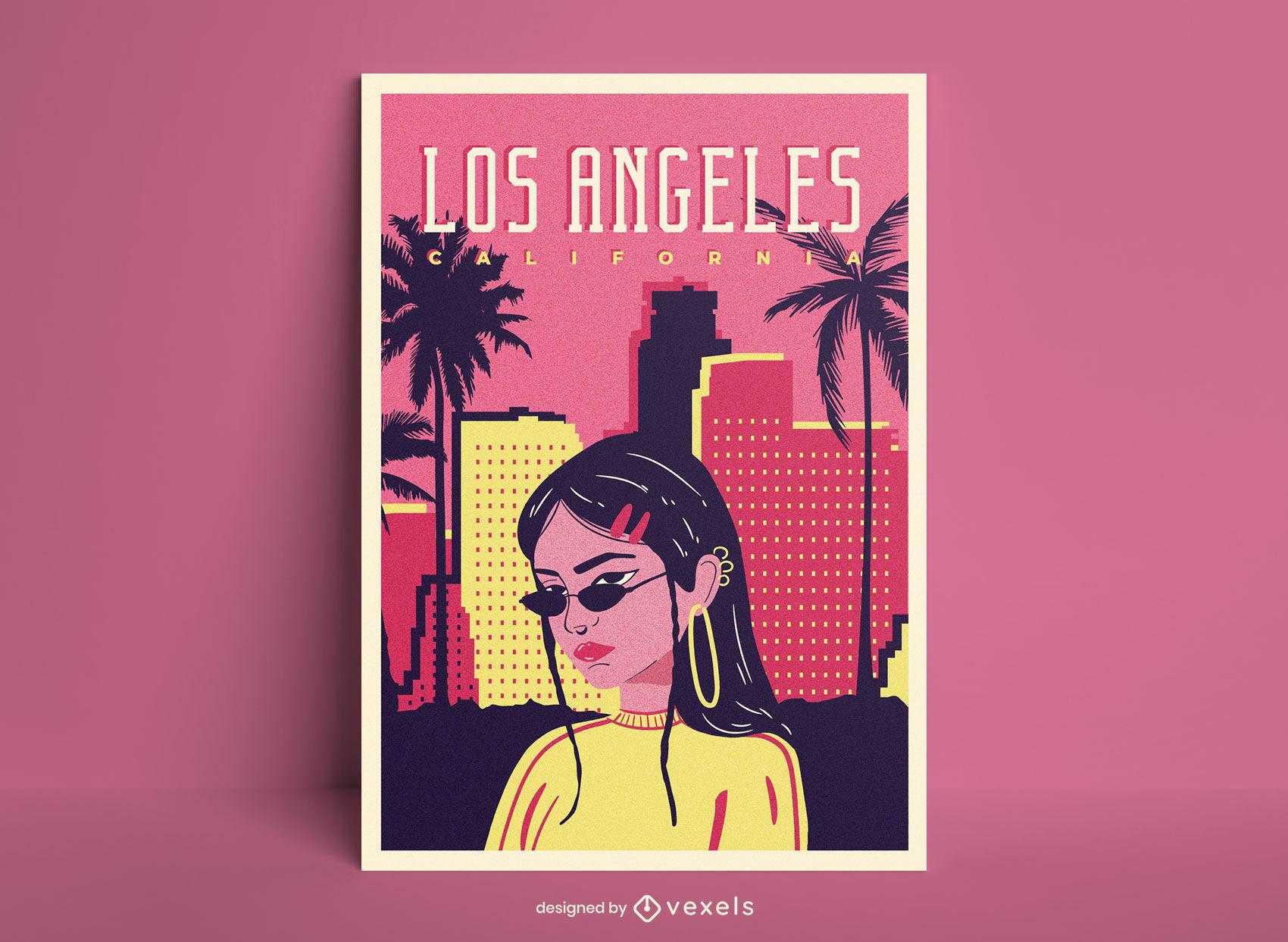 Plantilla de cartel de chica de los Ángeles