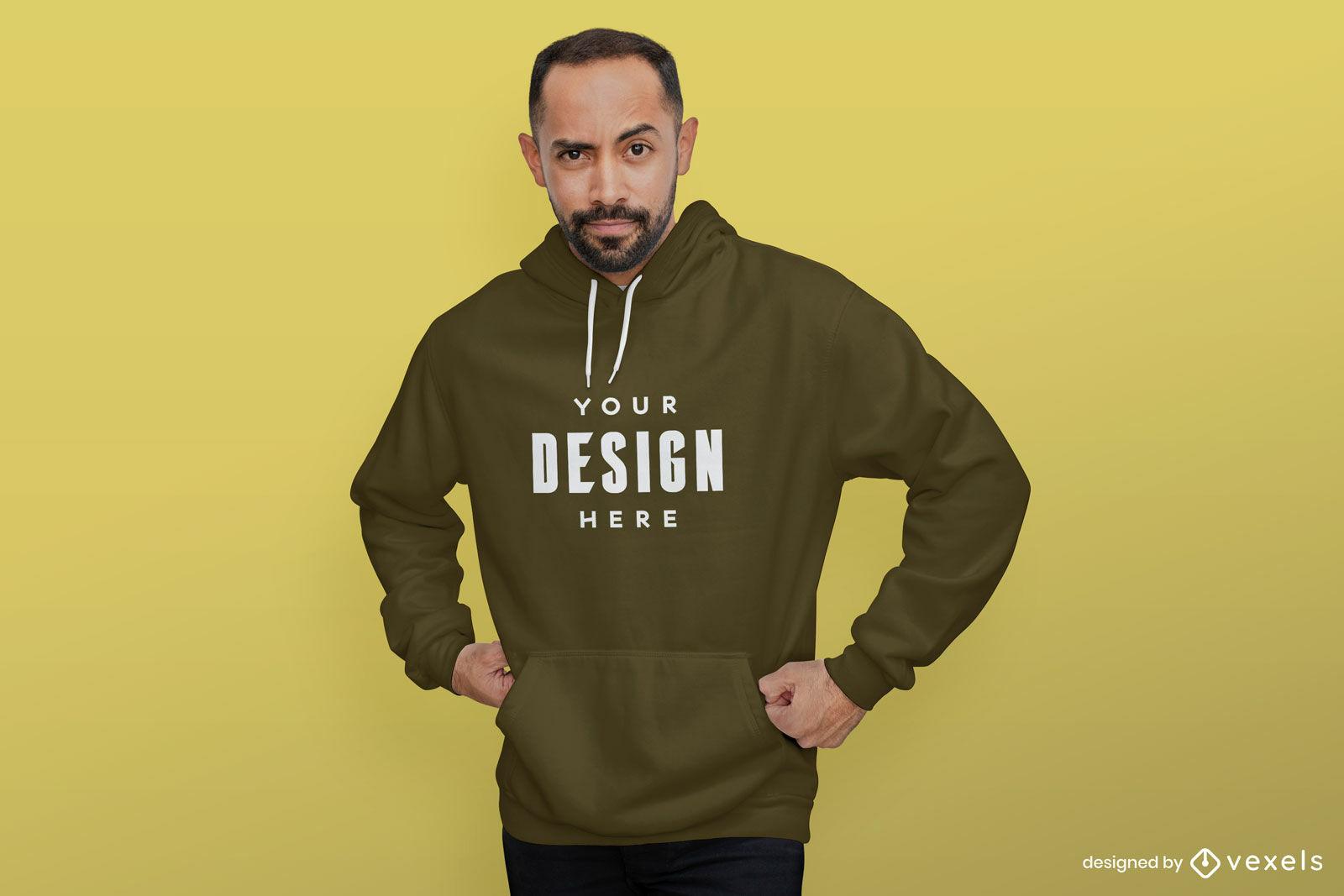 Man in brown hoodie mockup yellow background