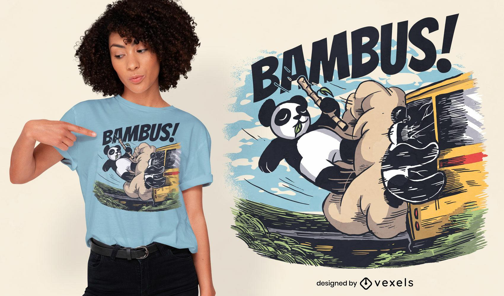 Design de camiseta para acidente de ônibus com urso panda