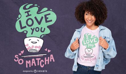 Diseño lindo de la camiseta de la bebida del té matcha