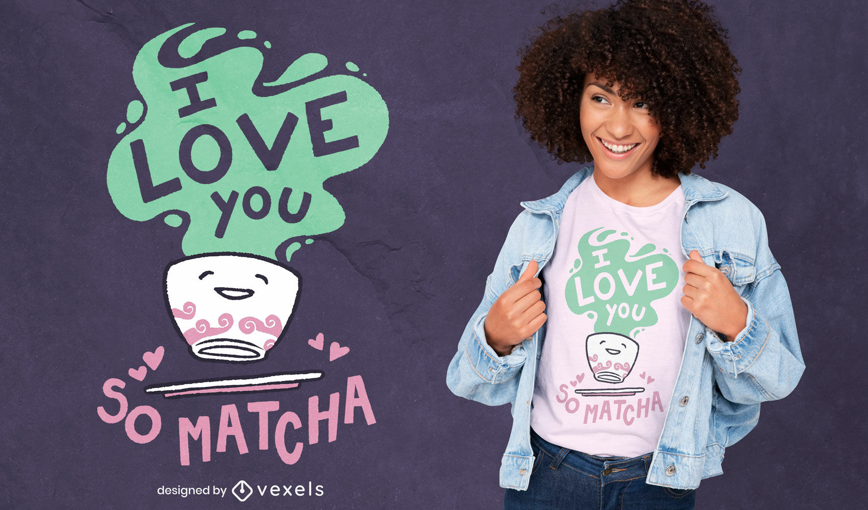 Design fofo de camiseta com chá matcha