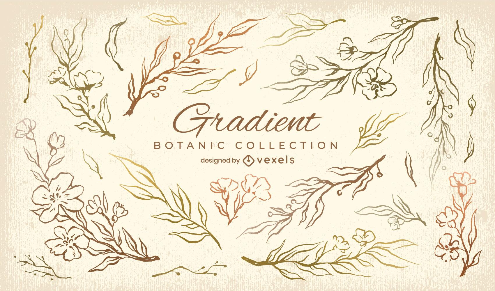 Conjunto de gradiente de naturaleza de hojas y flores.