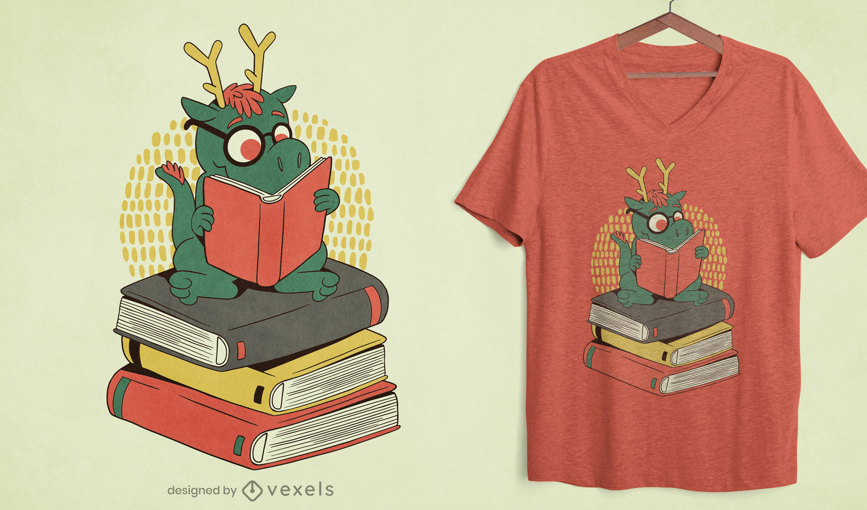 Diseño de camiseta de dragón en pila de libros