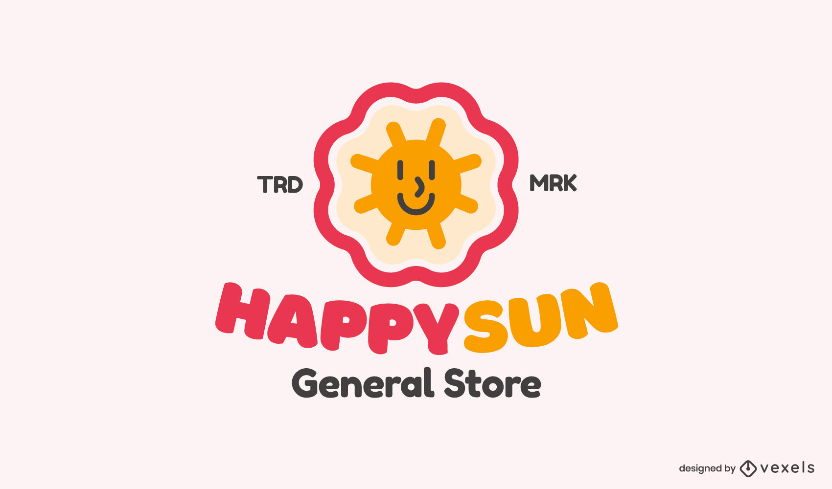 Plantilla de logotipo plano feliz sol