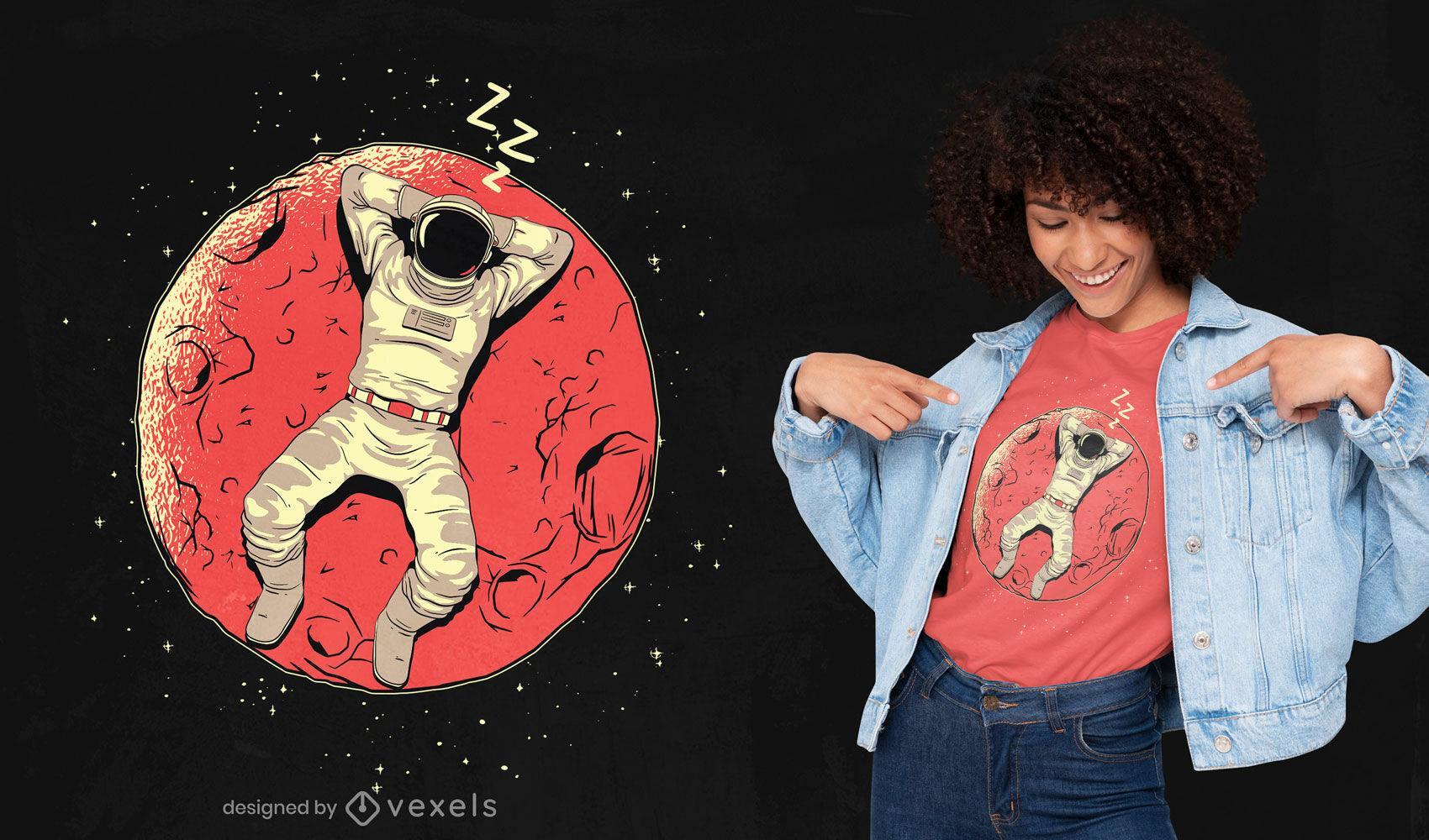 Diseño de camiseta de astronauta durmiendo en la luna.