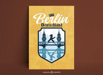 Berlin city bridge poster