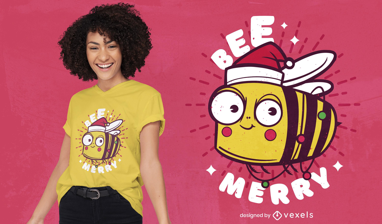 Diseño de camiseta de dibujos animados de animales de abeja navideña