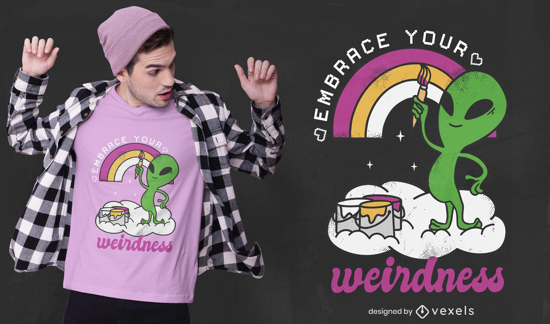 Diseño de camiseta de arco iris de pintura alienígena