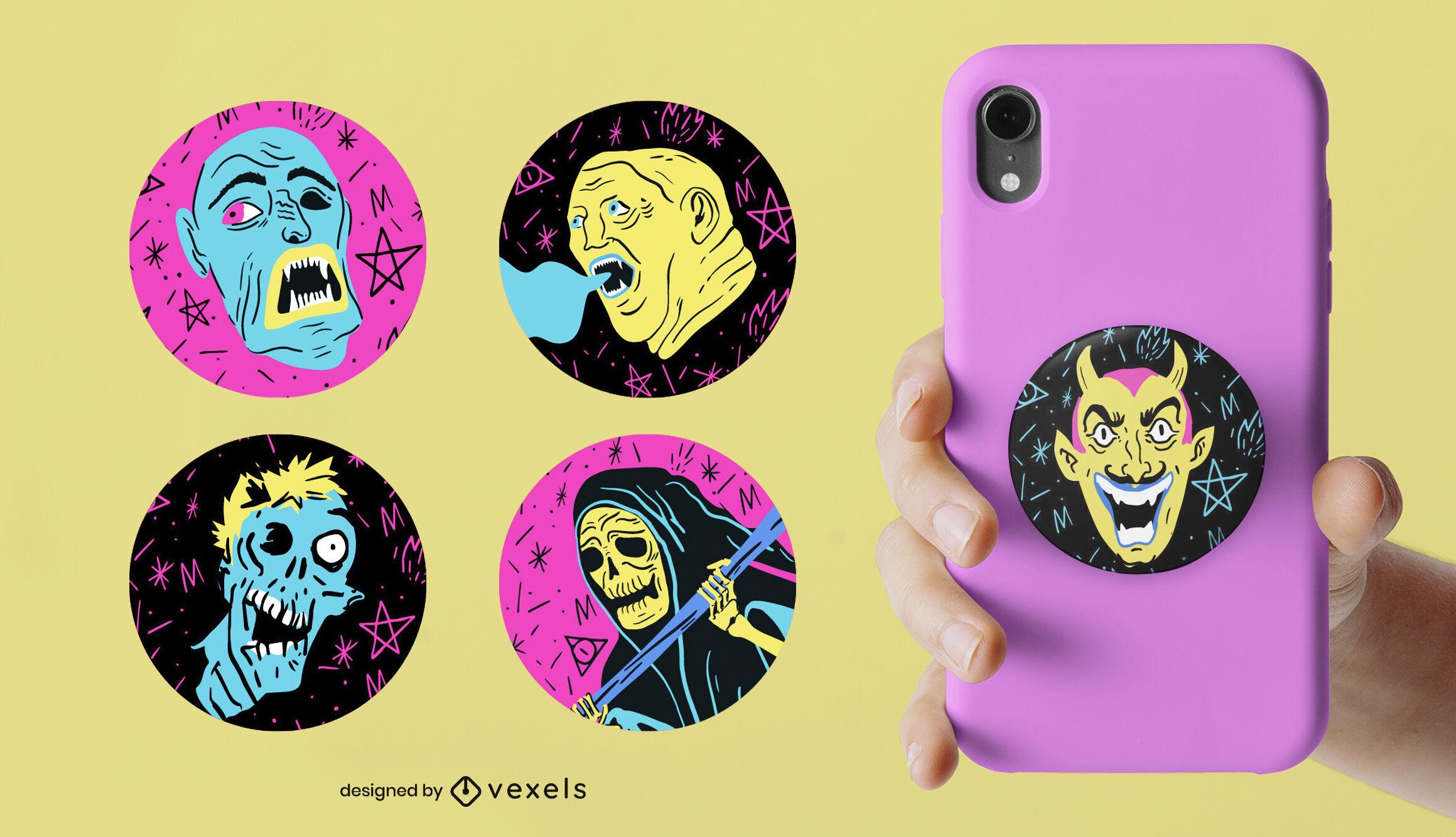 Desenhos de popsocket planos de personagens de Halloween