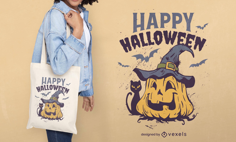 Halloween pumpkin tote bag design
