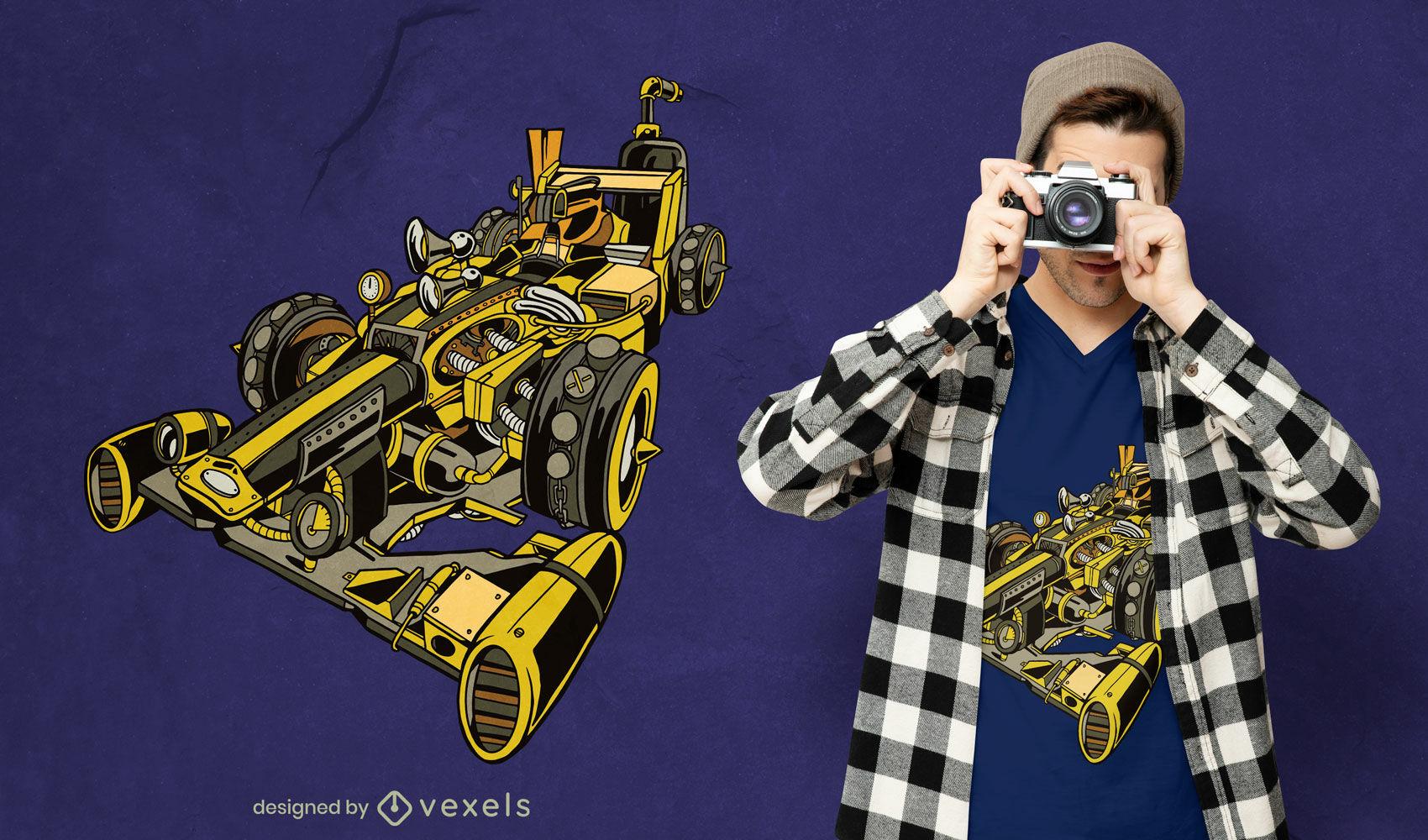 Diseño de camiseta de transporte de coches de carreras Steampunk.