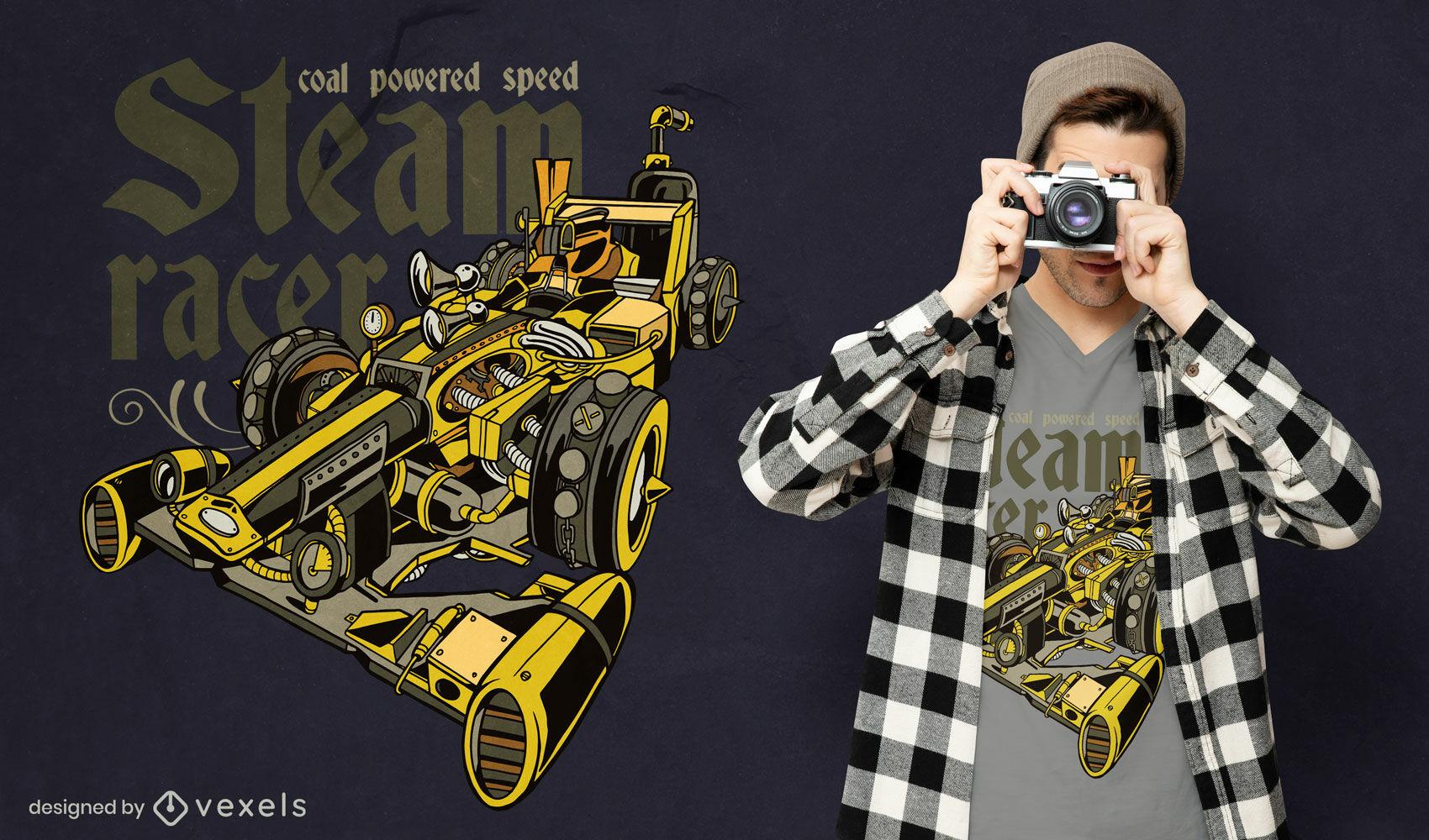 Steampunk car transport t-shirt design